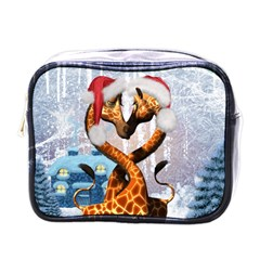 Christmas, Giraffe In Love With Christmas Hat Mini Toiletries Bags by FantasyWorld7