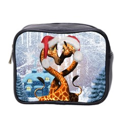 Christmas, Giraffe In Love With Christmas Hat Mini Toiletries Bag 2 Side by FantasyWorld7