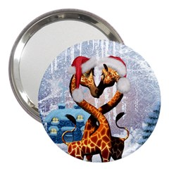 Christmas, Giraffe In Love With Christmas Hat 3  Handbag Mirrors by FantasyWorld7