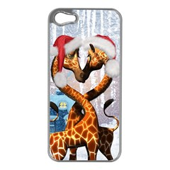 Christmas, Giraffe In Love With Christmas Hat Apple Iphone 5 Case (silver) by FantasyWorld7