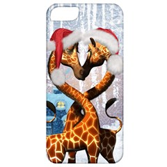 Christmas, Giraffe In Love With Christmas Hat Apple Iphone 5 Classic Hardshell Case by FantasyWorld7