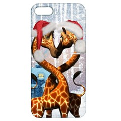 Christmas, Giraffe In Love With Christmas Hat Apple Iphone 5 Hardshell Case With Stand by FantasyWorld7