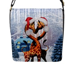 Christmas, Giraffe In Love With Christmas Hat Flap Messenger Bag (l)  by FantasyWorld7