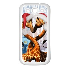 Christmas, Giraffe In Love With Christmas Hat Samsung Galaxy S3 Back Case (white) by FantasyWorld7