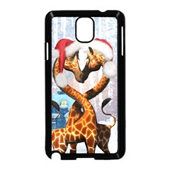 Christmas, Giraffe In Love With Christmas Hat Samsung Galaxy Note 3 Neo Hardshell Case (black)