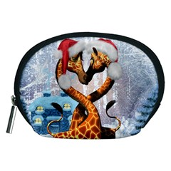 Christmas, Giraffe In Love With Christmas Hat Accessory Pouches (medium)  by FantasyWorld7