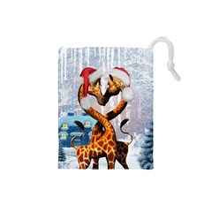 Christmas, Giraffe In Love With Christmas Hat Drawstring Pouches (small)  by FantasyWorld7
