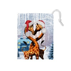 Christmas, Giraffe In Love With Christmas Hat Drawstring Pouches (medium)  by FantasyWorld7