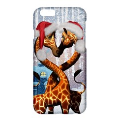 Christmas, Giraffe In Love With Christmas Hat Apple Iphone 6 Plus/6s Plus Hardshell Case by FantasyWorld7