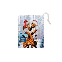 Christmas, Giraffe In Love With Christmas Hat Drawstring Pouches (xs)  by FantasyWorld7