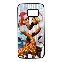 Christmas, Giraffe In Love With Christmas Hat Samsung Galaxy S7 Black Seamless Case by FantasyWorld7