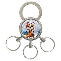Christmas, Giraffe In Love With Christmas Hat 3 Ring Key Chains by FantasyWorld7