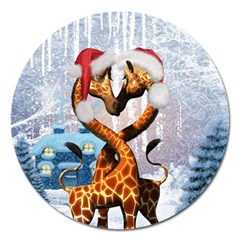 Christmas, Giraffe In Love With Christmas Hat Magnet 5  (round) by FantasyWorld7