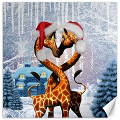 Christmas, Giraffe In Love With Christmas Hat Canvas 20  X 20   by FantasyWorld7