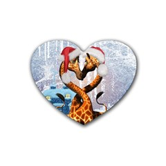 Christmas, Giraffe In Love With Christmas Hat Rubber Coaster (heart)  by FantasyWorld7