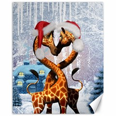 Christmas, Giraffe In Love With Christmas Hat Canvas 11  X 14   by FantasyWorld7