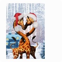Christmas, Giraffe In Love With Christmas Hat Small Garden Flag (two Sides) by FantasyWorld7