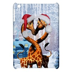 Christmas, Giraffe In Love With Christmas Hat Apple Ipad Mini Hardshell Case by FantasyWorld7