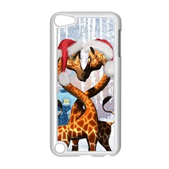 Christmas, Giraffe In Love With Christmas Hat Apple Ipod Touch 5 Case (white) by FantasyWorld7