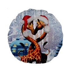 Christmas, Giraffe In Love With Christmas Hat Standard 15  Premium Round Cushions by FantasyWorld7
