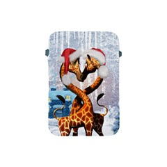 Christmas, Giraffe In Love With Christmas Hat Apple Ipad Mini Protective Soft Cases by FantasyWorld7