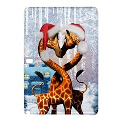 Christmas, Giraffe In Love With Christmas Hat Samsung Galaxy Tab Pro 10 1 Hardshell Case by FantasyWorld7