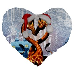 Christmas, Giraffe In Love With Christmas Hat Large 19  Premium Flano Heart Shape Cushions by FantasyWorld7