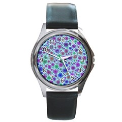 Lovely Shapes 3b Round Metal Watch by MoreColorsinLife