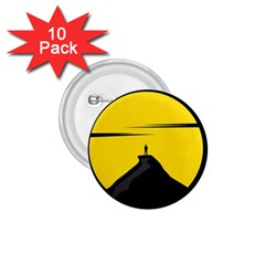 Man Mountain Moon Yellow Sky 1 75  Buttons (10 Pack) by Nexatart