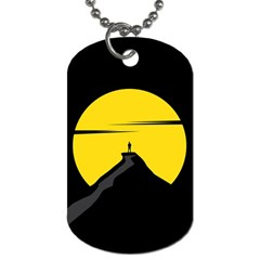 Man Mountain Moon Yellow Sky Dog Tag (two Sides)