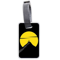 Man Mountain Moon Yellow Sky Luggage Tags (one Side)  by Nexatart