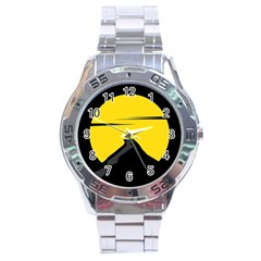 Man Mountain Moon Yellow Sky Stainless Steel Analogue Watch by Nexatart