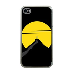 Man Mountain Moon Yellow Sky Apple Iphone 4 Case (clear) by Nexatart