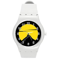 Man Mountain Moon Yellow Sky Round Plastic Sport Watch (m)