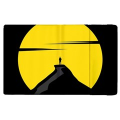 Man Mountain Moon Yellow Sky Apple Ipad 2 Flip Case by Nexatart
