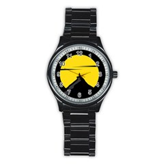 Man Mountain Moon Yellow Sky Stainless Steel Round Watch by Nexatart