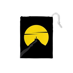 Man Mountain Moon Yellow Sky Drawstring Pouches (small)
