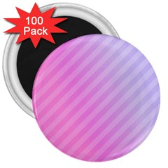 Diagonal Pink Stripe Gradient 3  Magnets (100 Pack) by Nexatart