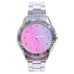 Diagonal Pink Stripe Gradient Stainless Steel Analogue Watch
