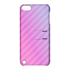 Diagonal Pink Stripe Gradient Apple Ipod Touch 5 Hardshell Case With Stand