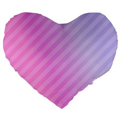 Diagonal Pink Stripe Gradient Large 19  Premium Flano Heart Shape Cushions by Nexatart