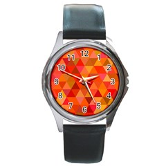 Red Hot Triangle Tile Mosaic Round Metal Watch by Nexatart