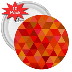 Red Hot Triangle Tile Mosaic 3  Buttons (10 Pack)