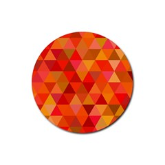Red Hot Triangle Tile Mosaic Rubber Coaster (round)  by Nexatart