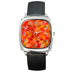 Red Hot Triangle Tile Mosaic Square Metal Watch by Nexatart