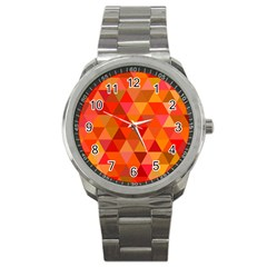 Red Hot Triangle Tile Mosaic Sport Metal Watch by Nexatart