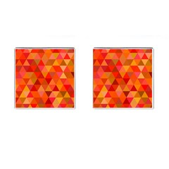 Red Hot Triangle Tile Mosaic Cufflinks (square) by Nexatart