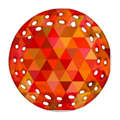 Red Hot Triangle Tile Mosaic Ornament (round Filigree)