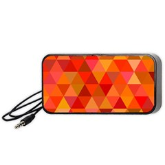 Red Hot Triangle Tile Mosaic Portable Speaker (black) by Nexatart