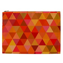 Red Hot Triangle Tile Mosaic Cosmetic Bag (xxl)  by Nexatart
